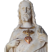 Antique French Statue Christ Sacred Heart Jesus Religious Figurine