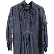 Antique French Linen Shirt Tunic Chemise Shirt Faded Charcoal Work smock