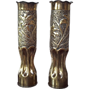 Pair of Antique French Trench Art Brass Vases Decorated Shell Case 1906