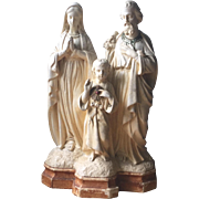 Antique French Devotional Chalk ware Statue Family Group Joseph Mary Jesus plaster cast