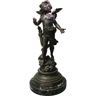 Antique French Statue Bronze Patinated Spelter Figurine Eros Greek God Of Love by Auguste Moreau