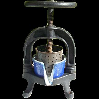 Antique French Cast Iron Enamel Press Cheese Maker Juicer Duck Meat Press juice utensil