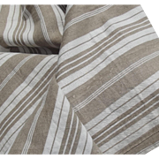 Bolt of Vintage French 1930s Ticking Fabric Woven Herringbone Striped Buff Beige Ecru Material