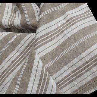 Bolt of Vintage French 1930s Ticking Fabric Woven Herringbone Striped Buff Beige Ecru Material