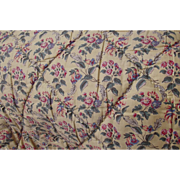Vintage French Quilt Floral Sprigged Large Throw Comforter Eiderdown