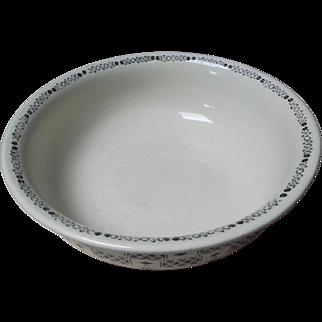 Beautiful Large Vintage French Ironstone Bowl Wash Fruit Display Dish 1900 Green trim
