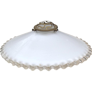 Vintage French White Milk Glass Pendant light 1930s shade brass fittings Fluted Glass