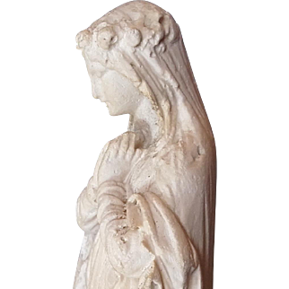 Antique French Shrine Statue Chalk ware Madonna Plaster cast Mary c1860
