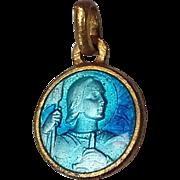 Antique Vintage French Medal Pendant Medallion 1900 Blue Enamelled Joan of Arc Jean