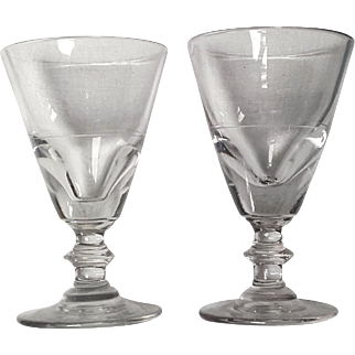 Pair Antique french Absinthe glasses hand blown c1830