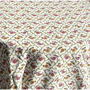 Vintage French 1940s bed spread Barkcloth Cover Tulips Chrysanthemums