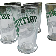 Set of Vintage French Glasses Perrier Water Tumblers sparkling water glass