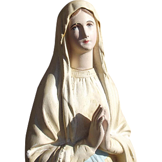 Large Vintage French Statue Virgin Mary Madonna Our Lady of Lourdes Plaster Cast