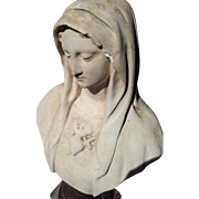 Antique French Religious Statue Virgin Mary Madonna Bust Sacred Heart Plaster Cast