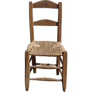 Antique French Church Chapel Chair Hand Hewn Oak woven Rush Seat