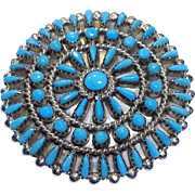 Vintage 40's Signed NVH Zuni NM Sterling Silver Petit Point Turquoise Brooch Pin
