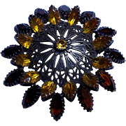 Vintage 60's Large 3 inch Amber Colored Prong Set Rhinestone Brooch Pin