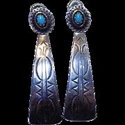 Vintage 3 inch Long Sterling Silver Navajo Stamp Work Sleeping Beauty Turquoise Pierced Dangle Earrings