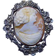 Antique Sterling Victorian Carved Shell Cameo Ornate Floral Bezel Brooch Pin
