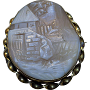 Antique Gold Filled Victorian Carved Shell Cameo Scene Brooch Pin