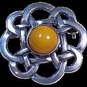 Vintage Celtic Scottish Egg Yolk Amber J.S GM Sterling Silver Brooch Pin!