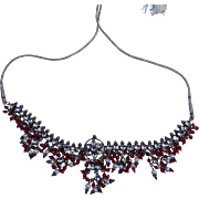 Sterling Silver Gold Finish Vintage Large Garnet Pearl Clear Stone Bib Necklace Far East.