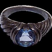 Aqua Blue Gemstone Sterling Silver 925 Ring Sz. 8.