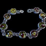 Vintage Floral Trapped in Amber Sterling Silver Link Bracelet.