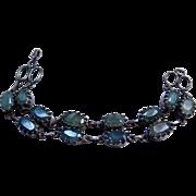Sterling Silver Large Green  Beryl Emerald Colored Genuine Gemstone Bracelet