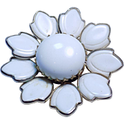 Trifari A. Philippe Poured Glass White Flower Brooch Pin.