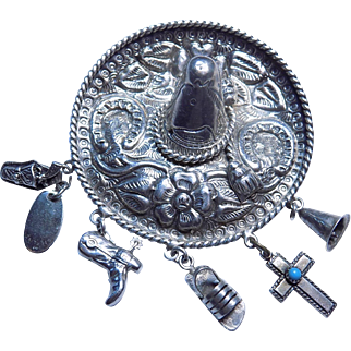 Vintage Sterling Sombrero Hat Brooch/Pin with 5 Dangling Charms Southwest Cowboy Theme.