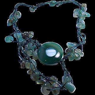 Vintage Green Jade Large Gemstone Hand Strung Bead Necklace.