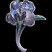 Nolan Miller Stunning Large Colorful Enamel Rhinestone Flower Brooch Pin.