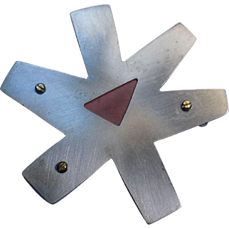 Vintage Designer Modernist Mixed Metals Inlay Sterling Silver Copper Star Brooch Pin!  This pin is circa 1970's, its copper and sterling silver gather and signed on the back and is extremely well made.  Its riveted together and measures 2.75 inches a