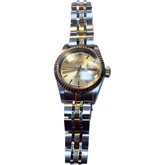 Tudor/Rolex 18K Gold Stainless Princess Date Rotor Self Winding Automatic Ladies Wristwatch. 92413 H341527 Retail 3800.00.