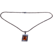 Sterling Silver 925 Rich Golden Brown Amber Modernist Vintage Pendant Necklace