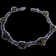 Celtic Scottish Sterling Silver 925 Green Glitter Amber Modernist Vintage Bracelet