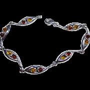 Sterling Silver 925 Golden Brown and Yellow Amber Modernist Vintage Bracelet