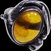 Vintage Natural Amber Sterling Silver 925 Floral Ring--Size 6