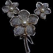 Stunning Kramer Clear Rhinestone Flower Brooch Pin Earrings Set