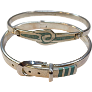 2 Sterling Silver Inlay Taxco Turquoise Bangle Bracelets Belt Buckle