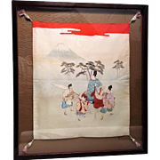An antique Japanese painting and needlework on silk with glass frame