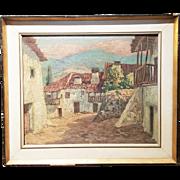 "Spanish oil painting on canvas ""Village on Foothills"""