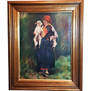 "French oil painting on canvas ""Farm woman with goats"""