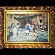 A large European oil on Canvas Women Altercation