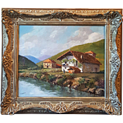 "Oil painting on canvas ""Cottage by the River"" signed E. Azarola"