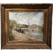"French oil painting on canvas "" Fisherman by the River"" signed Gabriel F"