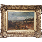 French oil painting on board country landscape with initials J.C.