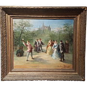 French oil painting on canvas signed Theodore Levigne 19th Century