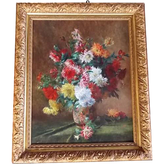 French still life oil painting on canvas signed by M. Sarazin